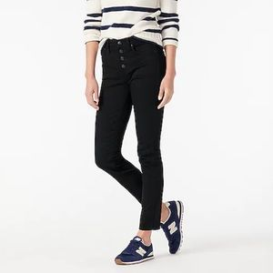 "NWT J. CREW 9"" Vintage Straight Black Jeans Button"